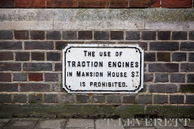 Cast Iron sign advising Traction Engine drivers where not to drive in Historic Market Town Newbury.