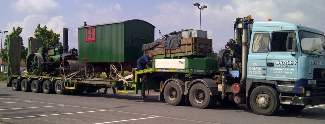 Fred Coopers Aveling and Poerter roller No. 8489 and equipment all loaded ready for the trip to Dorset.