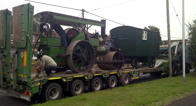 Pete Narraway's Aveling and Porter roller No.10168 all loaded and ready for the trip to Dorset