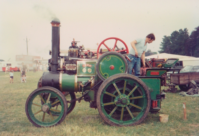 "A young Noel Greenaway on Wallis and Steevens tractor no.2811 ""Lena"" at what looks like Woodcote Rally"