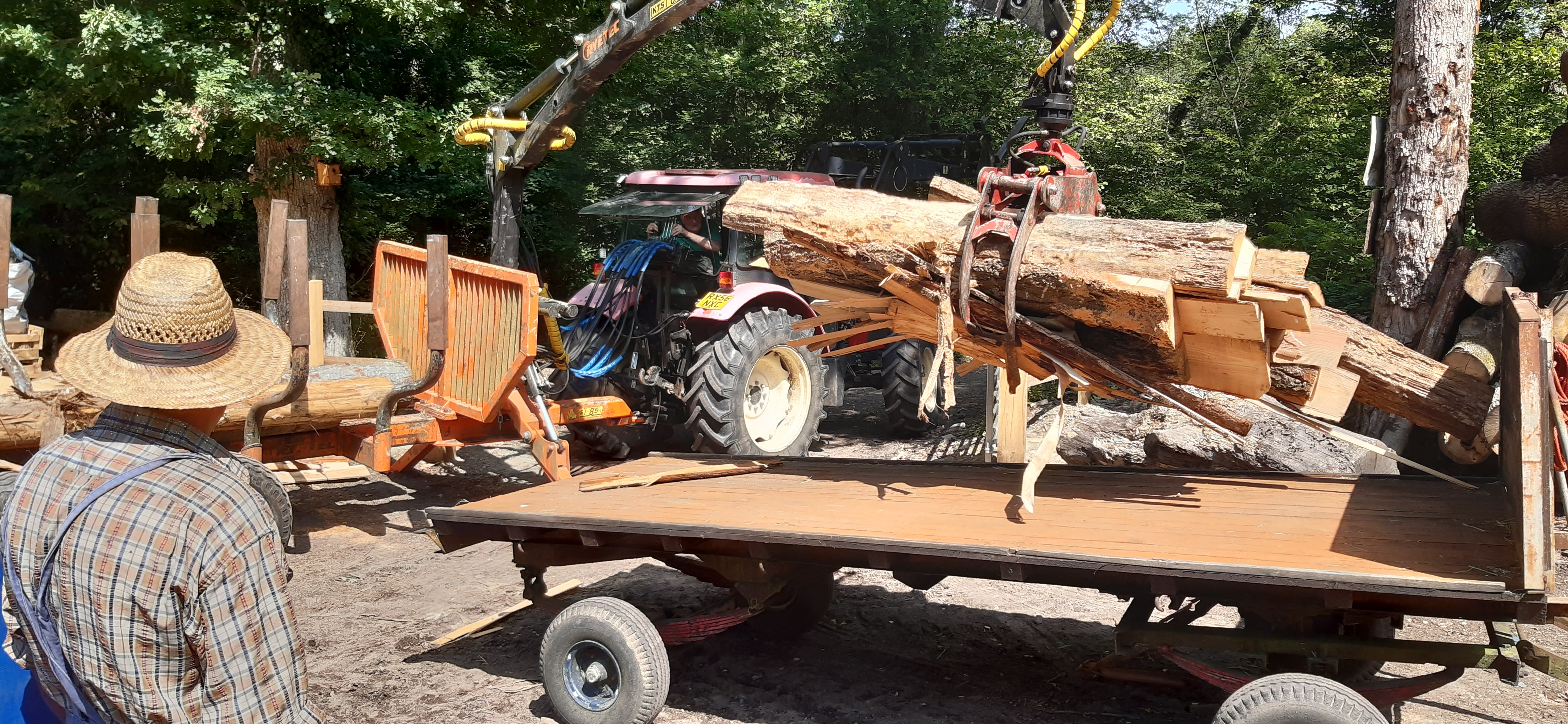 The first load being dropped on to the trailer